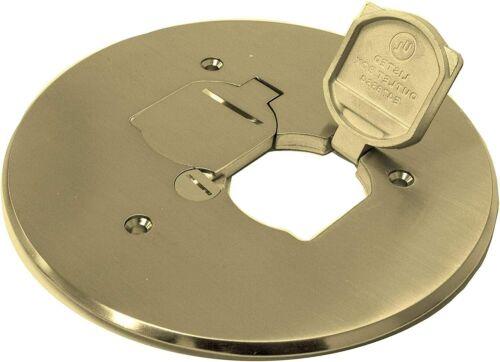 "FBOX 975517-C Brass Duplex Receptacle Round Cover Plate Dual Flip Lid 5-3/4"""