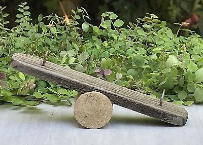 Miniature Dollhouse FAIRY GARDEN Accessories ~ Rustic Wood Seesaw Teeter Totter for sale  Shipping to Canada