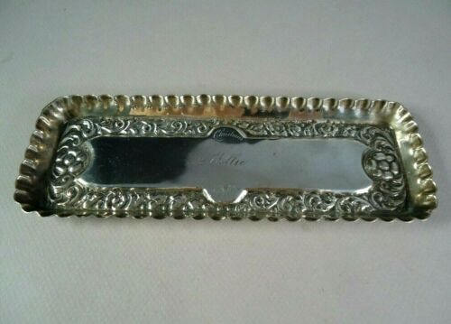 """Ornate 1890 Christmas Pin or Trinket Tray by D.S. Spaulding, 83g, """"Mollie"""""""