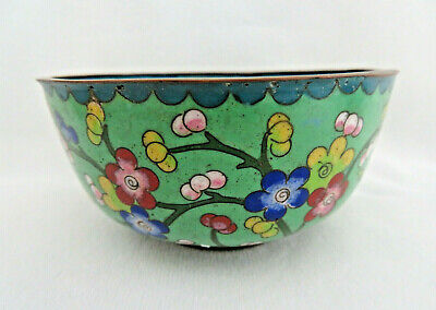 Vintage Chinese Mint Green Floral Cloisonne Enamel Rice Bowl -