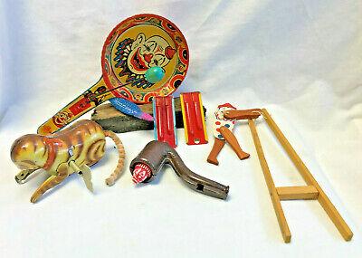 Vtg Tin Litho Toy Mixed Lot Pan Noisemaker Clown Cat Whistle Pipe Alligator