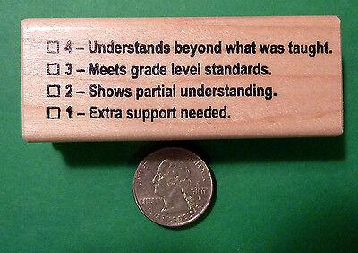 Understands 4321 Rubric - Teacher's Wood Mounted Rubber Stamp
