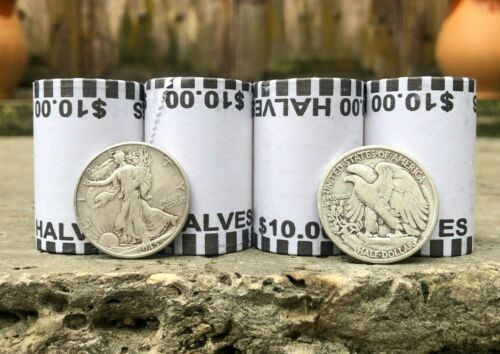 Walking Liberty 90% Silver Coin AND (&) Bank Sealed Half Dollar Coin Roll