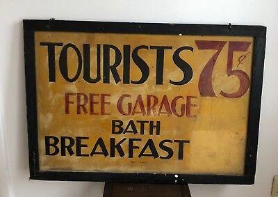 Original double sided Antique 1920's Tourist sign breakfast bath Finger Lakes
