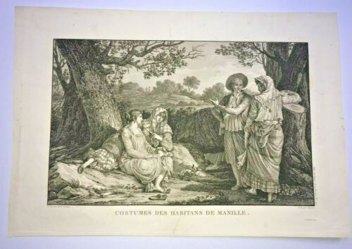 MANILA PHILIPPINES PEOPLE 1797 LA PEROUSE LARGE NICE ANTIQUE ENGRAVED VIEW