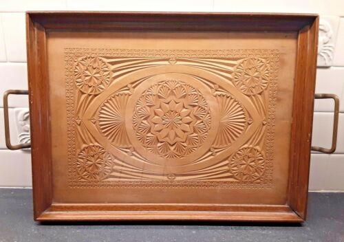 "GORGEOUS ANTIQUE HAND CARVED EDWARDIAN BUTLER TRAY 18"" x 12"" with Brass handles"