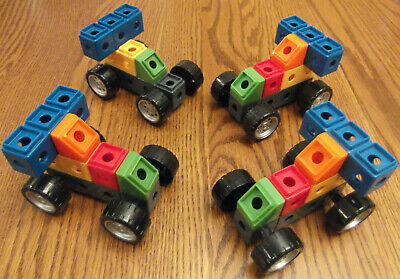 Fisher Price Trio Building Blocks Cars Vehicle Lot 4 Race Car Bases. 22 pieces.