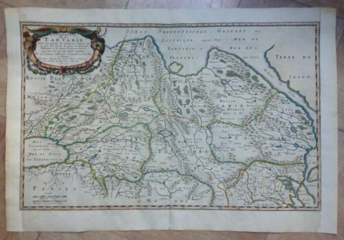 TARTARY RUSSIA CHINA 1654 NICOLAS SANSON LARGE UNUSUAL ANTIQUE MAP 18TH CENTURY