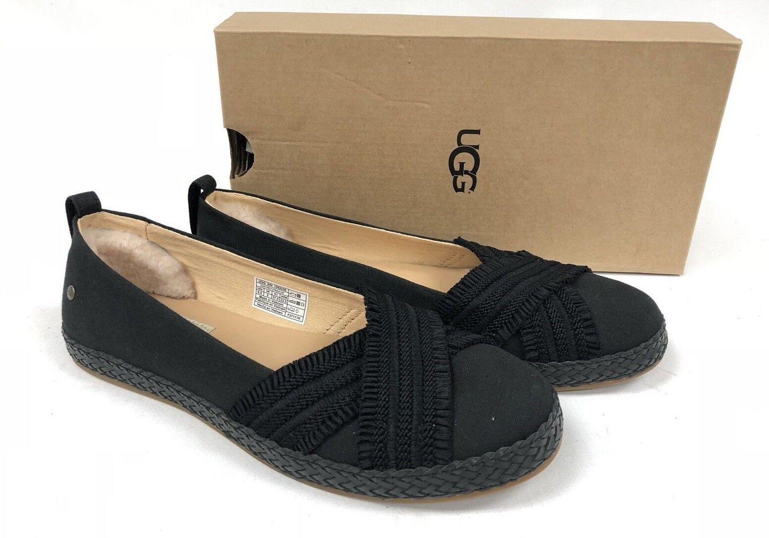 UGG Australia Ynez Slip On Flat 1092238 Black Women's Shoes Flats Canvas