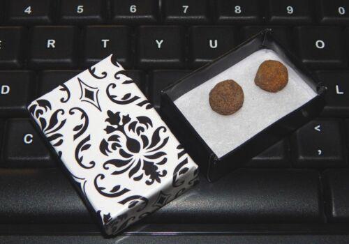 Pair of Mini Hematite Healing Balls, Shaman Stones + Gift Box, Moqui Marbles Set