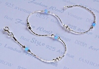 ANKLET OPAL Solid 925 Sterling Silver Chain 10''  blue Ankle Bracelet Made in UK