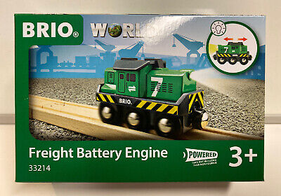 Brio World Wooden Railway Freight Battery Powered Engine #33214, New Brio Wooden Railway