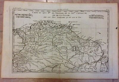SOUTH AMERICA NORTHERN PART 1780 by RIGOBERT BONNE ANTIQUE COPPER ENGRAVED MAP