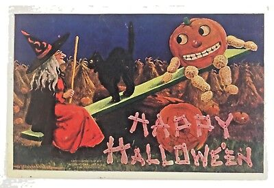 Halloween Postcard Bernhardt Wall Int'l Art Witch JOL Black Cat Hay Seesaw 1909](Halloween Witchs)