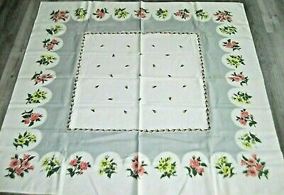 Beautiful Vintage Gray & White Linen Tablecloth w/Colorful Flowers~48 x 50