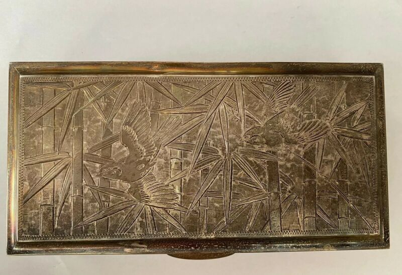 Vintage Japanese 950 Silver Etched Scroll Box Desk Case