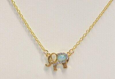 Swarovski Elephant Necklace - ELEPHANT NECKLACE PENDANT W/ .25 CT Created  OPAL with Swarovski Crystals ITALY