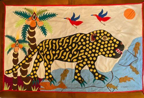 Vintage African Textile Folk Art Quilt tapestry cloth Animals Narcisse Antique