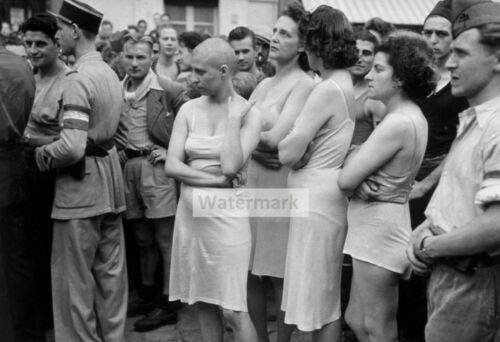 WWII photo French are guarding women who maintained contact with the Germans 107