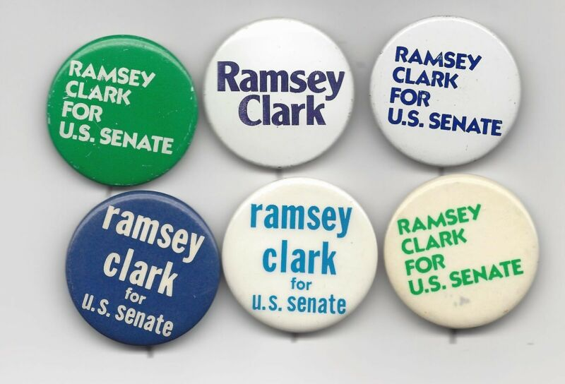 Ramsey Clark New York (D) US Senate candidate 1974 1976 political pin button lot