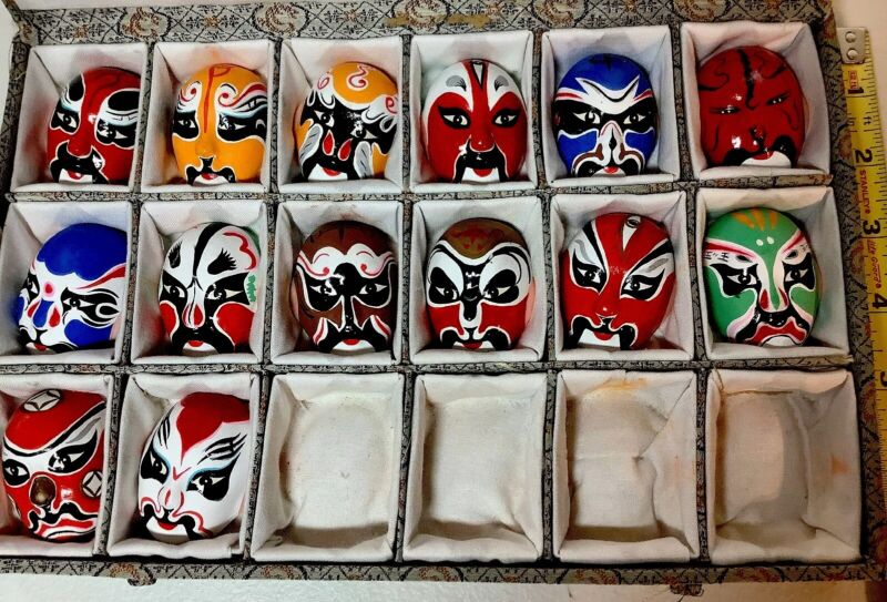Chinese Beijing Opera Miniature Kabuki Masks. Vintage Clay Art Collectibles.