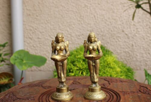 Oil wick Lamp Pair Brass Diya Lady Holding Lamp Home Decor Vintage Temple Art