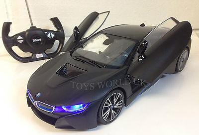 BMW i8 Remote Control RC Car LED Lights Remote Control Opening Doors 1/14 black ()