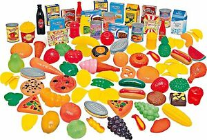 114 Piece Plastic Toy Play Food Fruit Vegetable Cakes Grocers Shop Set AK944