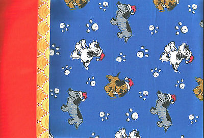 "Christmas Puppy Dogs in Santa Hats Paw Prints Cotton ""PILLOWCASE KIT"""