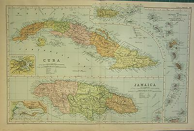 1912 LARGE ANTIQUE MAP ~ CUBA & JAMAICA ~ LESSER ANTILLES PORTO RICO