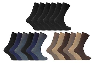 Cotton Soft Top Socken (6 Pack Mens Soft 100% Cotton Rich Non Elastic Loose Wide Top Thin Dress Socks)