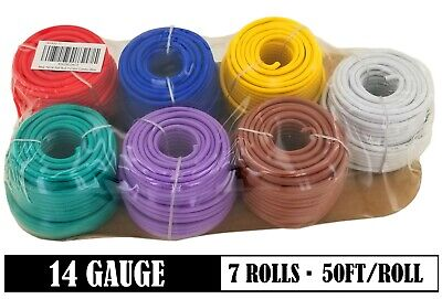 14 Gauge 7 Color 50ft/ color 12V Automotive RV Trailer Hook Up Auto Primary Wire