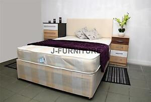 4ft Double Divan Bed With 8 39 39 Mattress And 2 Drawers Foot End Base In 3 Colours Ebay