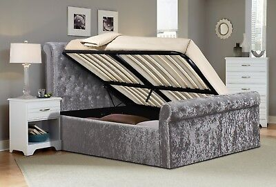 - 5FT Side Lift Ottoman Luxurious Padded Crushed Velvet Sleigh Bed With Diamante