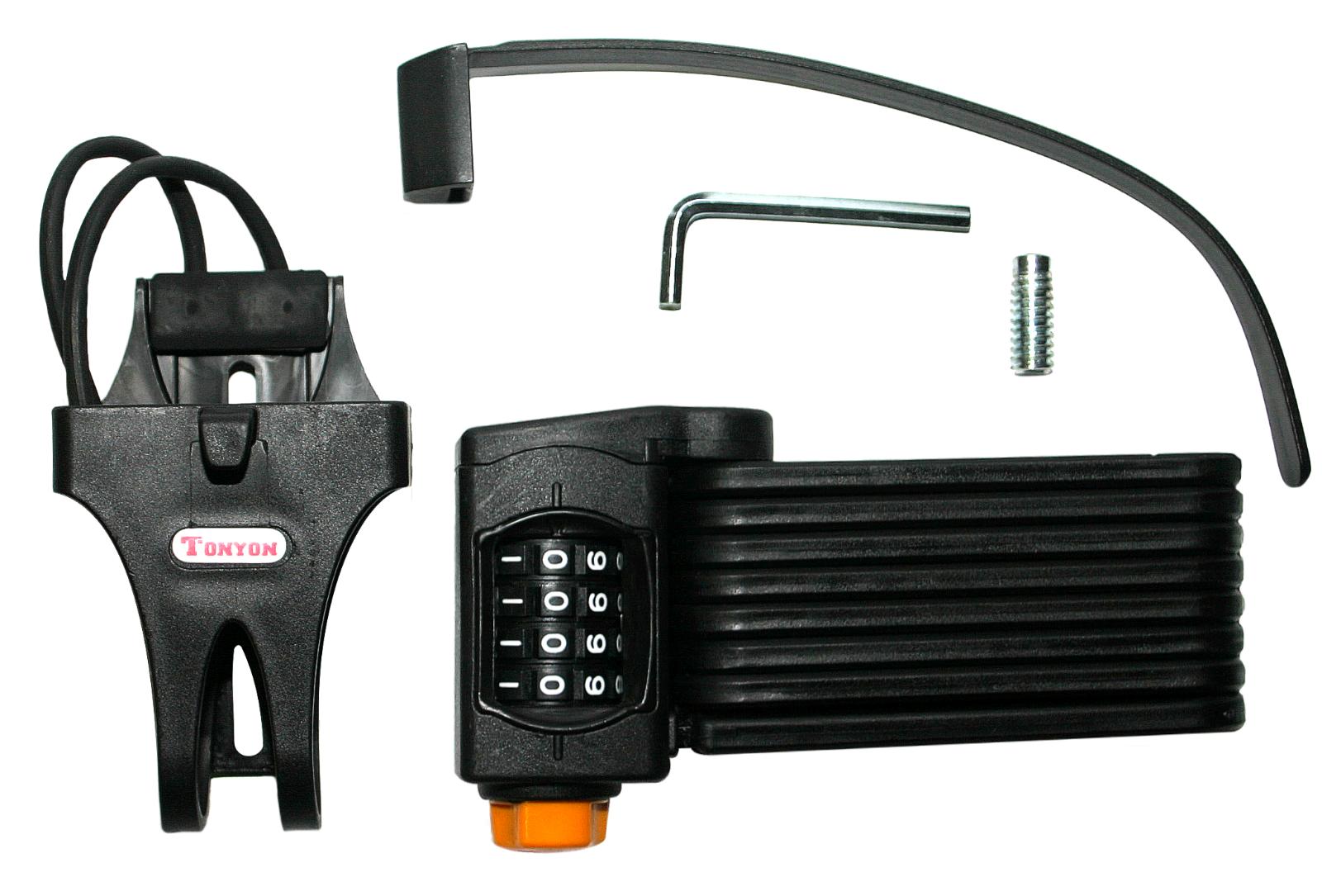 Schwarzes Faltschloss - Fahrrad Zahlenschloss mit Halterung Sicherheitsstufe 15