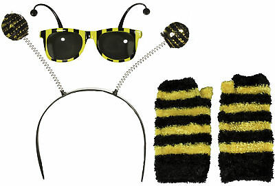 Bumble Bee Gloves (Bumble Bee Costume Accessory Set Antennae Boppers Glasses Gloves)