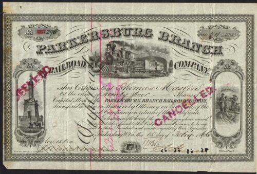 USA PARKERSBURG BRANCH RAILROAD  bond/stock certificate 1866