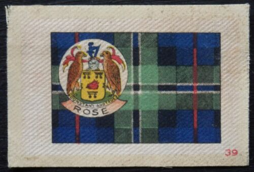 ROSE Clan Tartan and Coat of Arms 99 year old SILK card issued in 1922