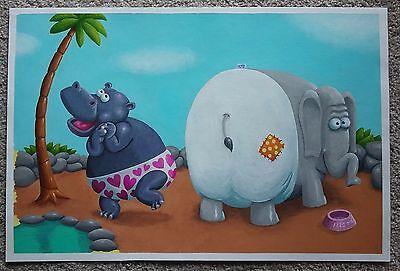 The Underpants Zoo Original Childrens Book Art Brian Sendelbach Hippo Elephant