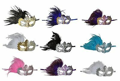 KAYSO INC Elegant Mardi Gras Venetian Masquerade Mask with Feathers - NEW - Masquerade Mask With Feathers
