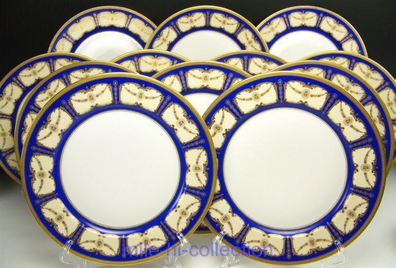 BEAUTIFUL LIMOGES BLUE ROSES GOLD ENCRUSTED DINNER PLATES SET OF 12