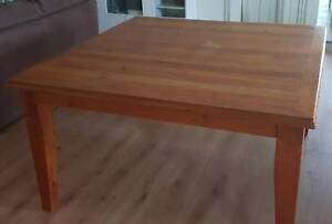 Solid timber dining table with 8 chairs