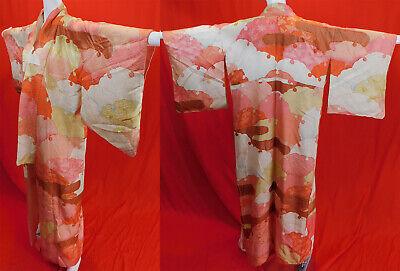 Authentic Vintage Japanese rinzu silk houmongi kimono 1970/'s