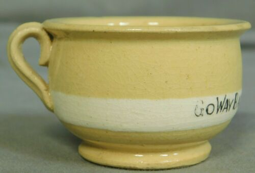 Antique Banded Yellow Ware Miniature Pee Chamber Pot Potty POOP inside Feces OLD