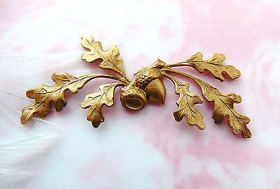 Brass Woodland Leaf - BRASS Woodland Oak Leaf Spray Acorn Stamping ~ Jewelry Findings (C-1305)