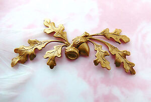 BRASS Woodland Oak Leaf Spray Acorn Stamping ~ Jewelry Findings (C-1305)