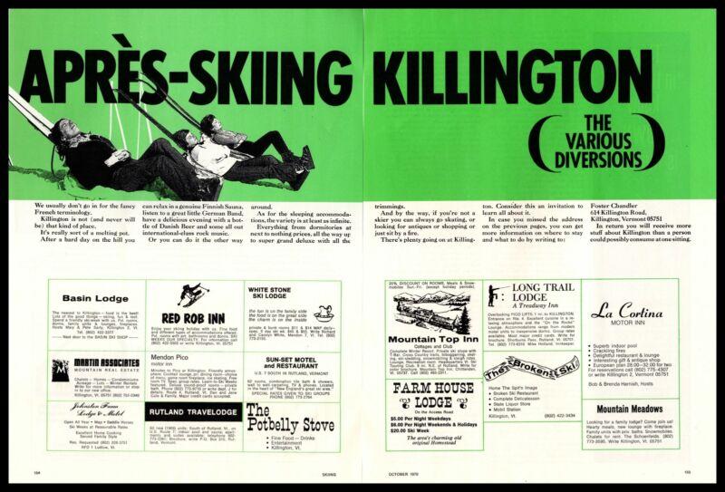 1970 Apres Skiing Killington Vermont Ski Resort Lodging Guide 2-Page Print Ad