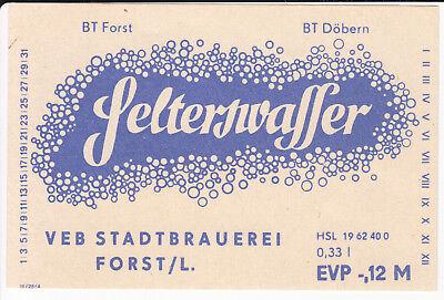 1 Etikett Brauerei Forst , Selterswasser , DDR