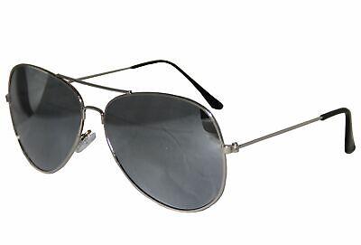 verspiegelte Pilotenbrille für Karneval Party Brille Pilot silber Sonnenbrille