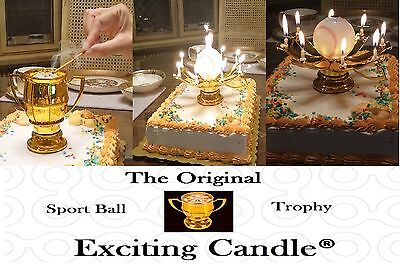 1 Baseball Trophy & 1 Golden Lotus Flower Birthday EXCITING CANDLES